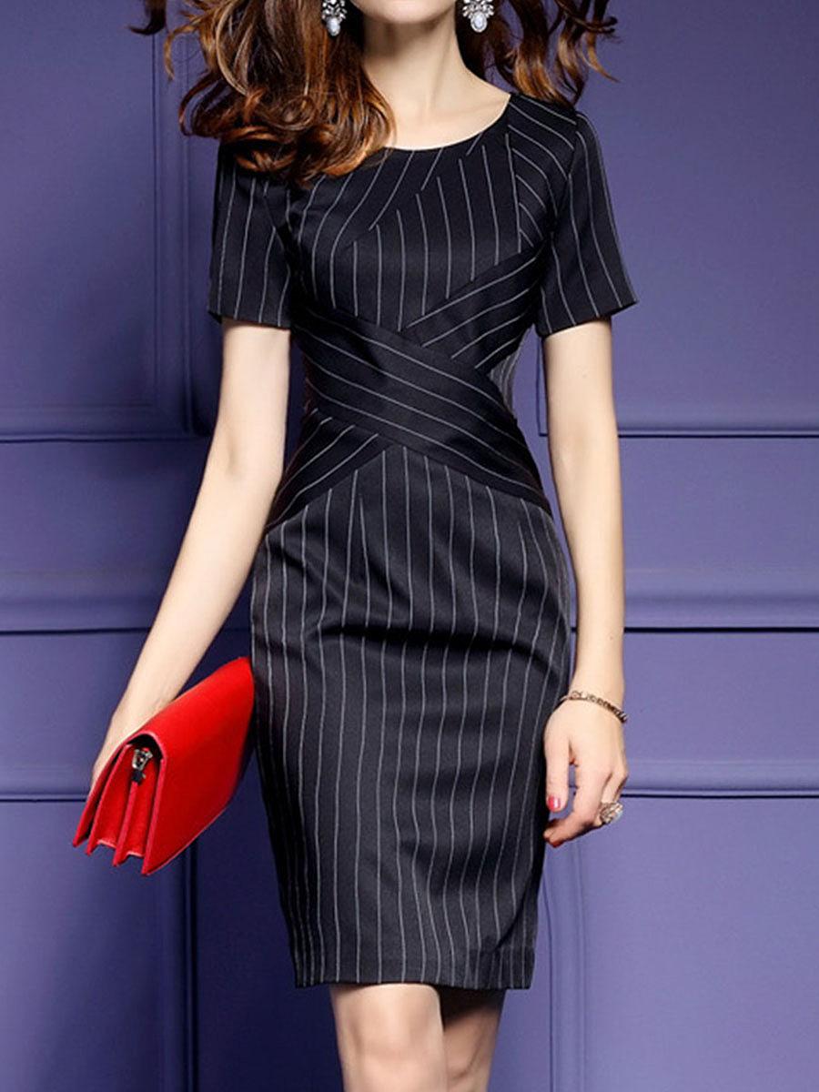 Round Neck  Vertical Striped Bodycon Dress