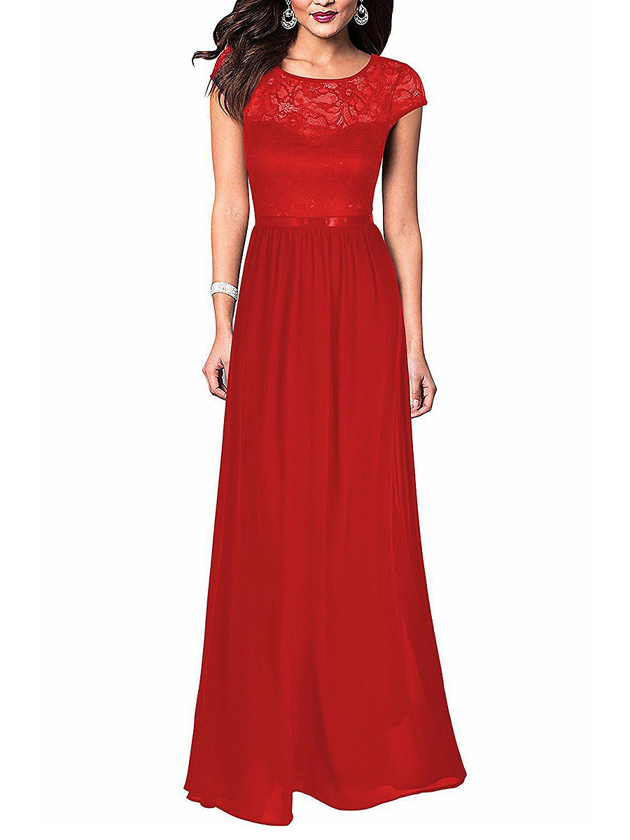 Round Neck Hollow Out Plain Chiffon Evening Dress