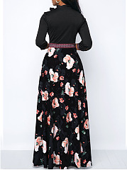 Tie Collar Empire Line  Printed Maxi Dress