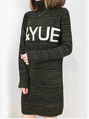 Band Collar  Letters Shift Dress