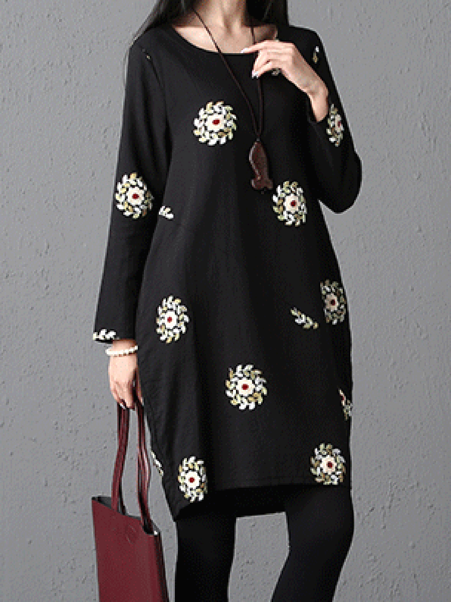 printed casual autumn winter sack Round Neck  Printed Shift Dress