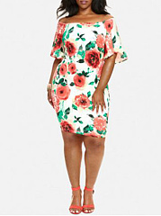 Off Shoulder  Printed Plus Size Bodycon Dresses