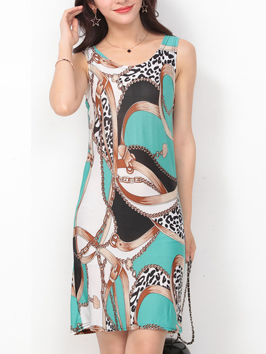 Round Neck  Color Block Printed Bodycon Dresses