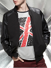 Band-Collar-Patchwork-Pocket-Plain-Men-Jacket