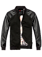 Band Collar Patchwork Pocket Plain Men Jacket