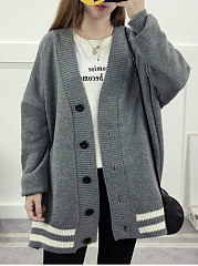 Collarless  Plain Striped  Long Sleeve Coats