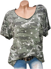 Summer  Polyester  Women  Round Neck  Camouflage Star Short Sleeve T-Shirts