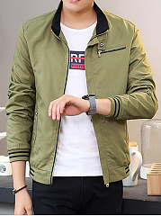 Band-Collar-Fleece-Lined-Pocket-Striped-Men-Jacket
