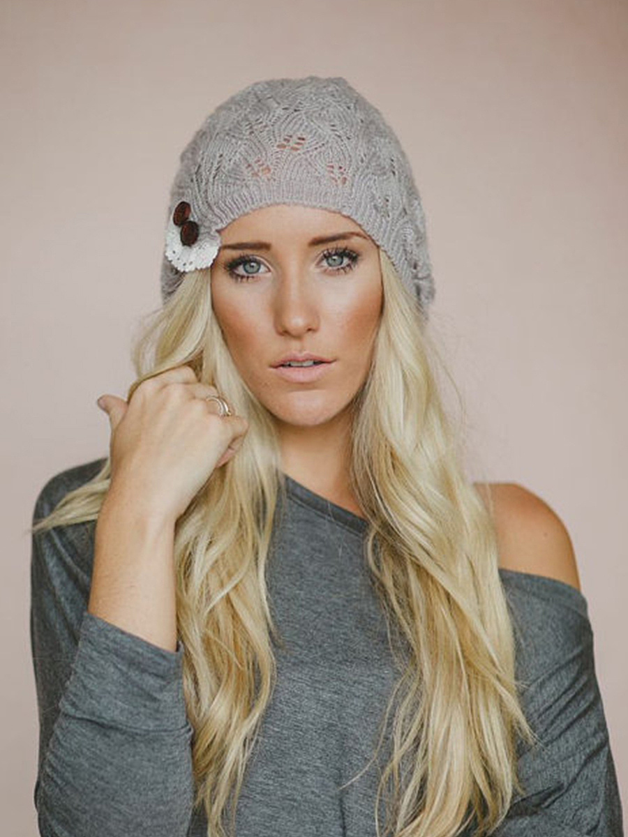 Decorative Button Plain Hollow Out Knitted Hat