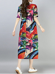 Round Neck  Abstract Print Maxi Dress