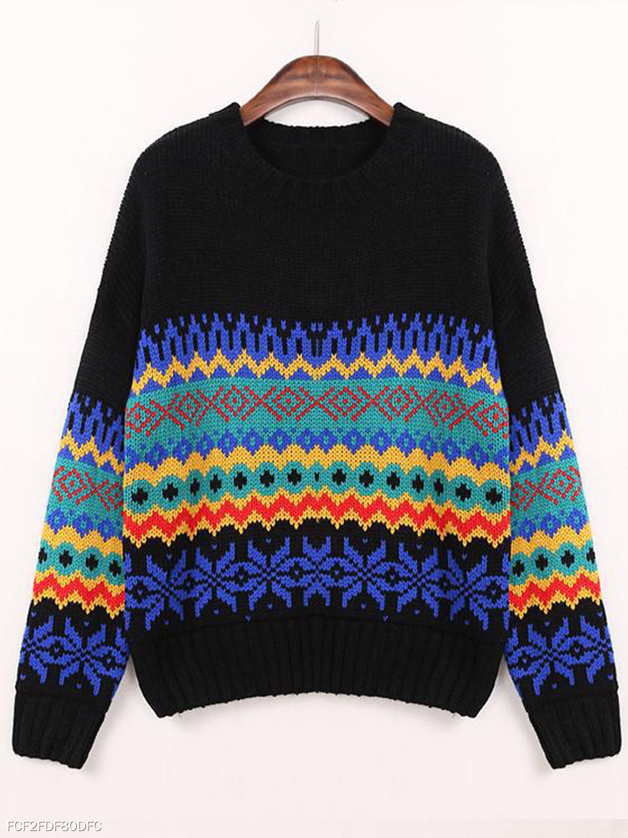 Round Neck  Loose Fitting  Bohemian Knit Pullover