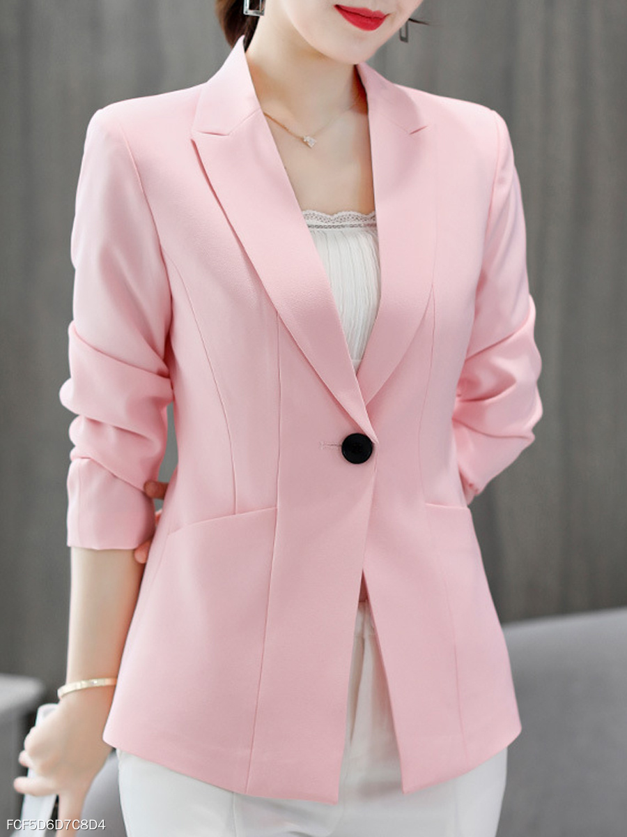 Notch Lapel  Plain  Long Sleeve Blazers