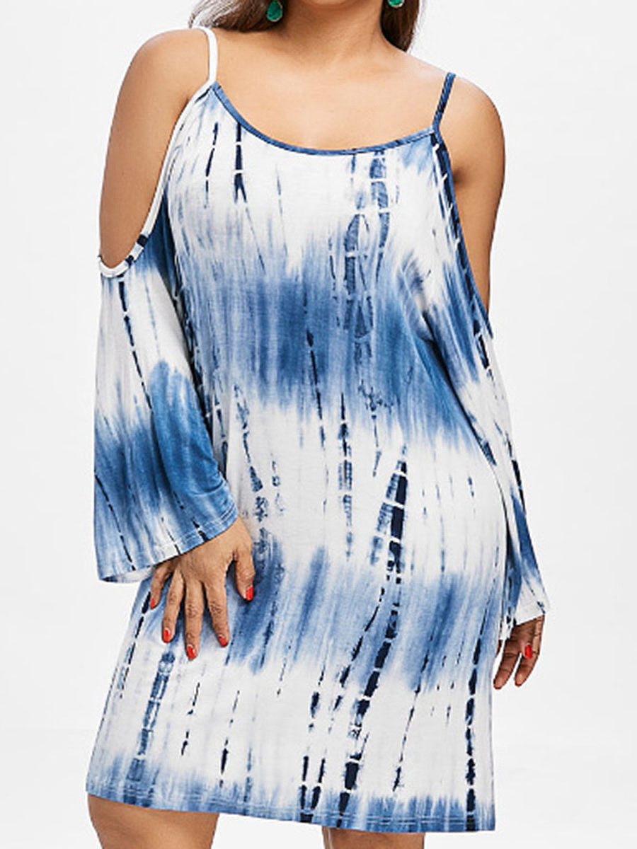 Round Neck  Ikat Plus Size Bodycon Dresses