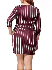 Vertical Striped Round Neck Pocket Plus Size Bodycon Dress