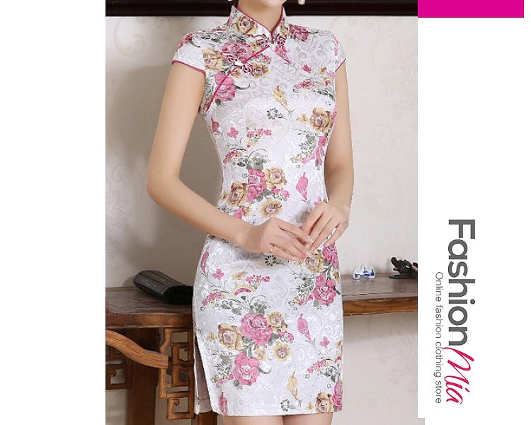 Band Collar  Floral Bodycon Dress