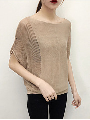 Round Neck  Plain  Batwing Sleeve Knit Pullover