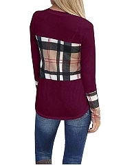 Crew Neck  Asymmetric Hem Cutout Patchwork Side Slit  Curved Hem  Plaid Long Sleeve T-Shirts