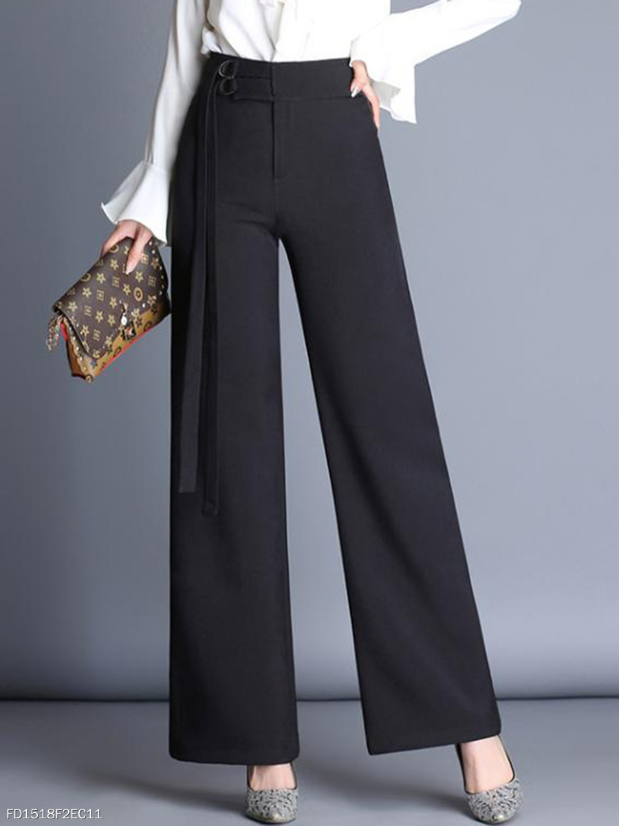 Office Black High Rise Wide Leg Pants