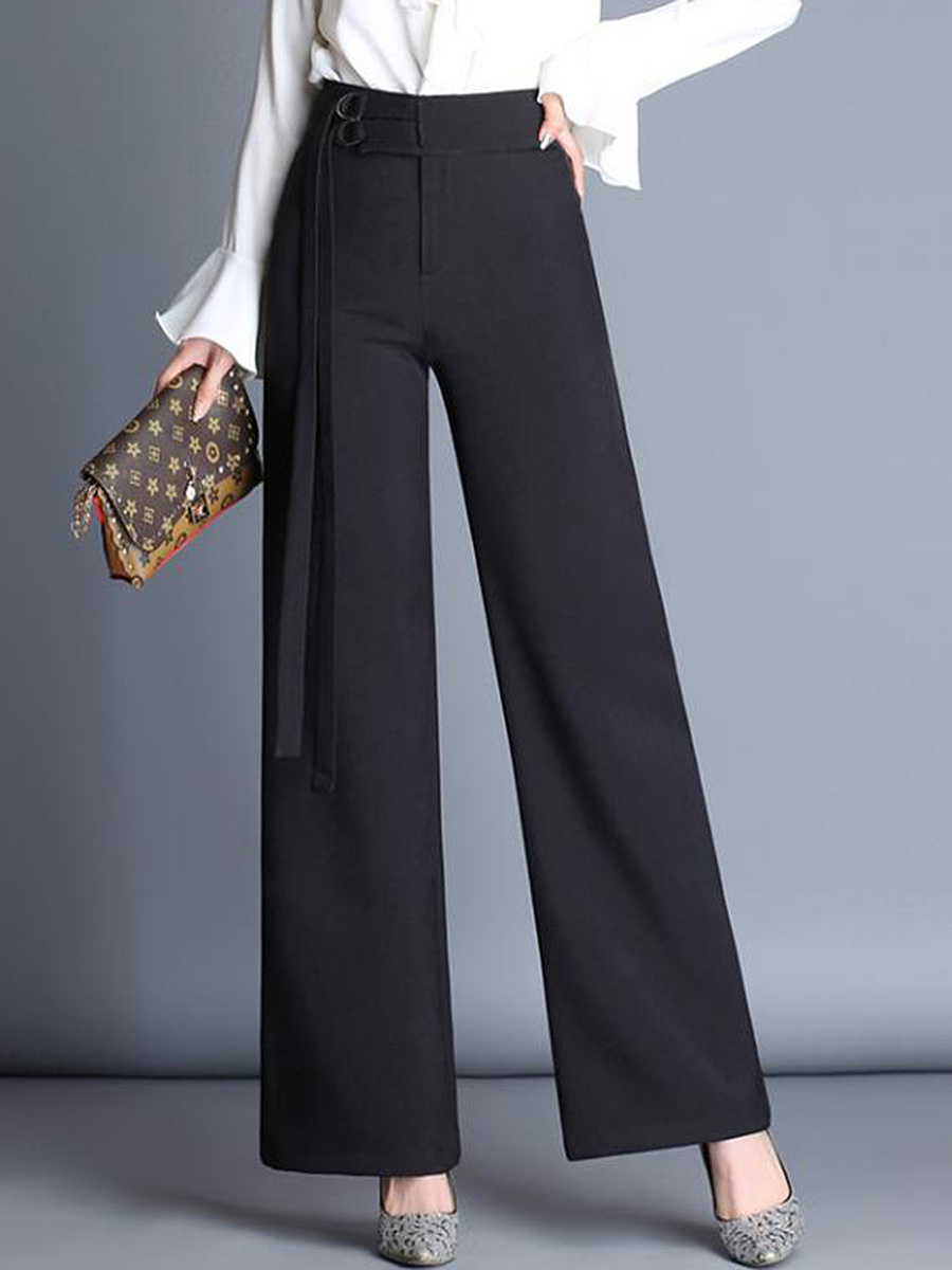 Office Black High-Rise Wide-Leg Pants