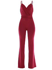Spaghetti Strap Backless Plain Wide-Leg Jumpsuit