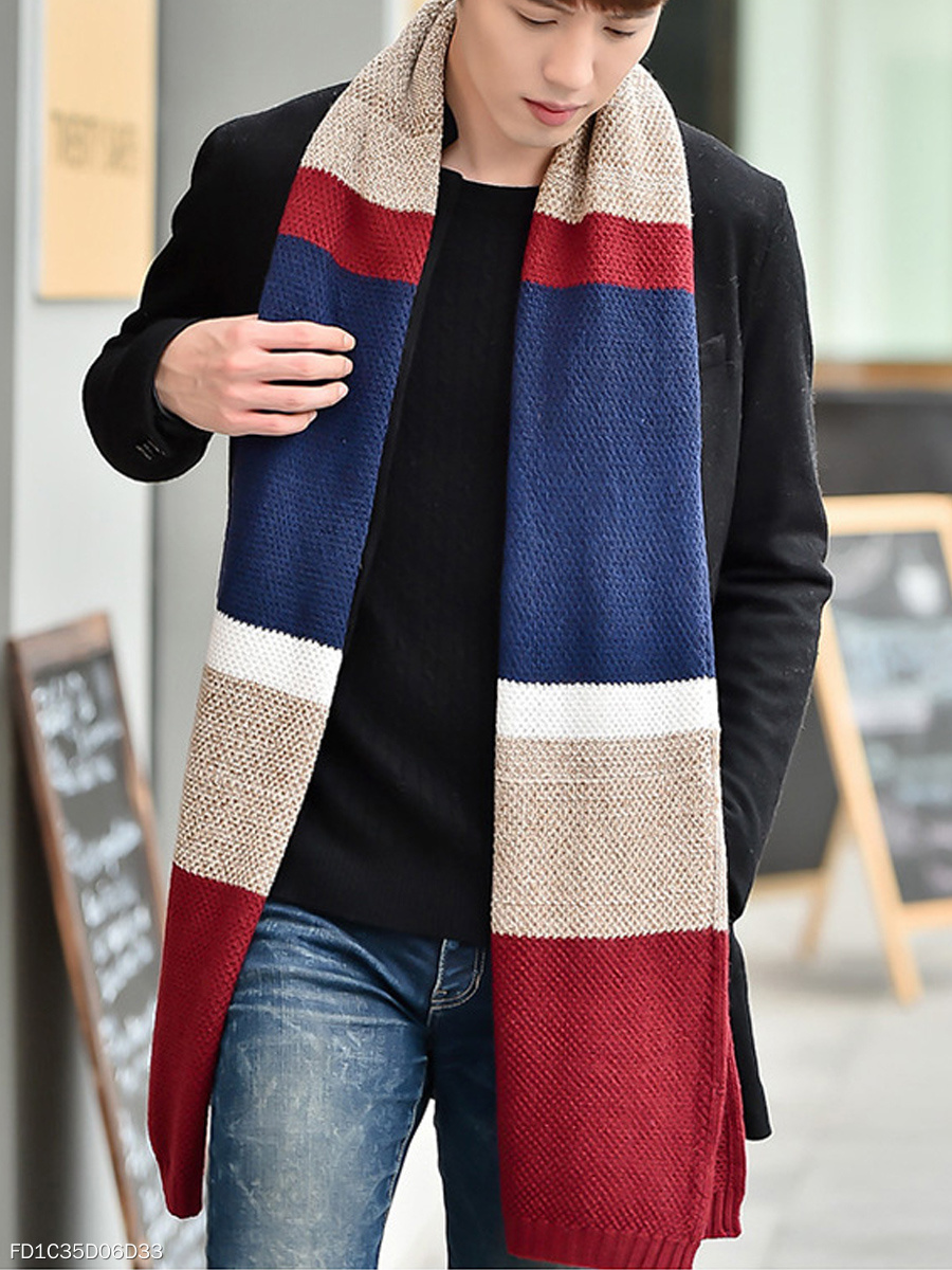 Winter Fashion Woolen  Color  Block  Thick Scarves