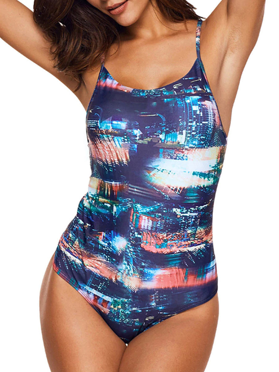 Printed Colorful String Criss-Cross Backless One Piece Swimwear For Women