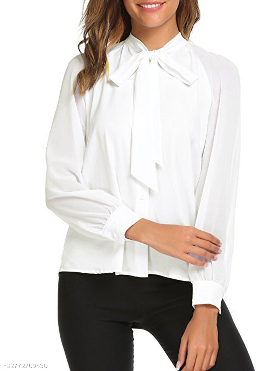 Autumn Spring  Polyester  Women  Tie Collar  Single Breasted  Decorative Button  Plain  Long Sleeve Blouses