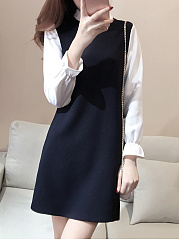Band Collar  Patchwork  Color Block Shift Dress