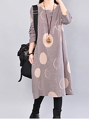 Round Neck  Printed  Cotton/Linen Maxi Dress