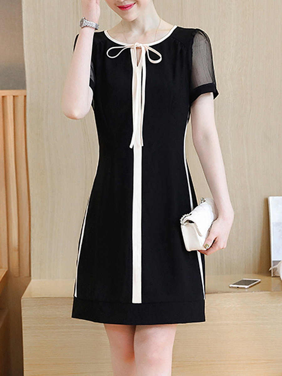 Tie Collar Contrast Trim Hollow Out Bodycon Dress