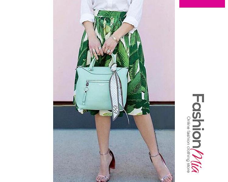 Elastic Waist  Printed Midi Skirts