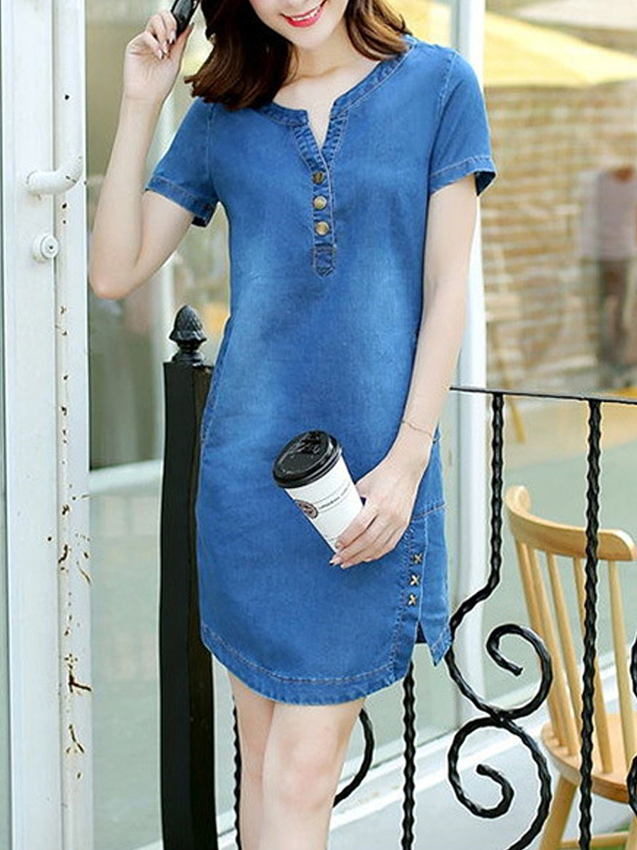 Acid Wash Denim Casual Dress