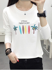 Autumn Spring  Cotton  Women  Round Neck  Floral Letters Long Sleeve T-Shirts