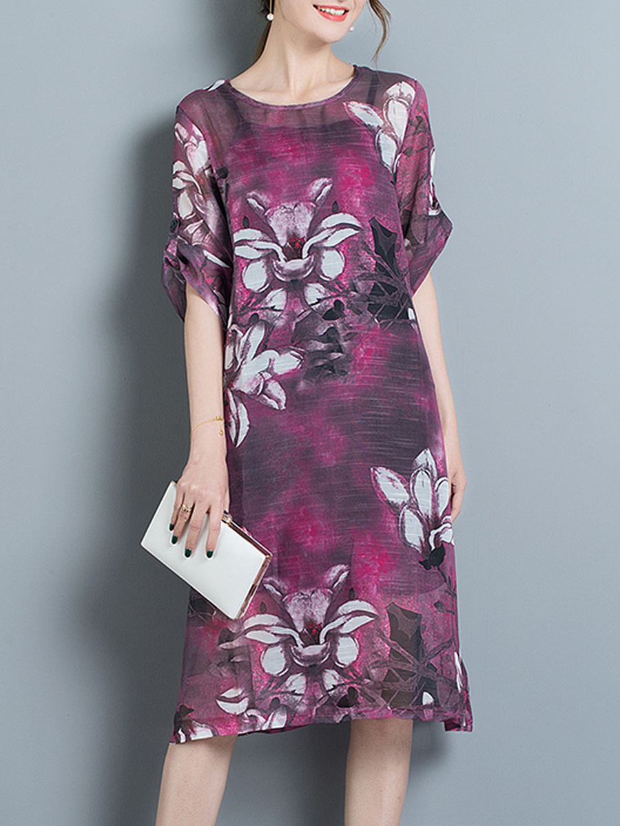 Round Neck Printed Roll-Up Sleeve Two-Piece Shift Dress