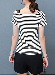 Square Neck Striped Short Sleeves T-Shirt