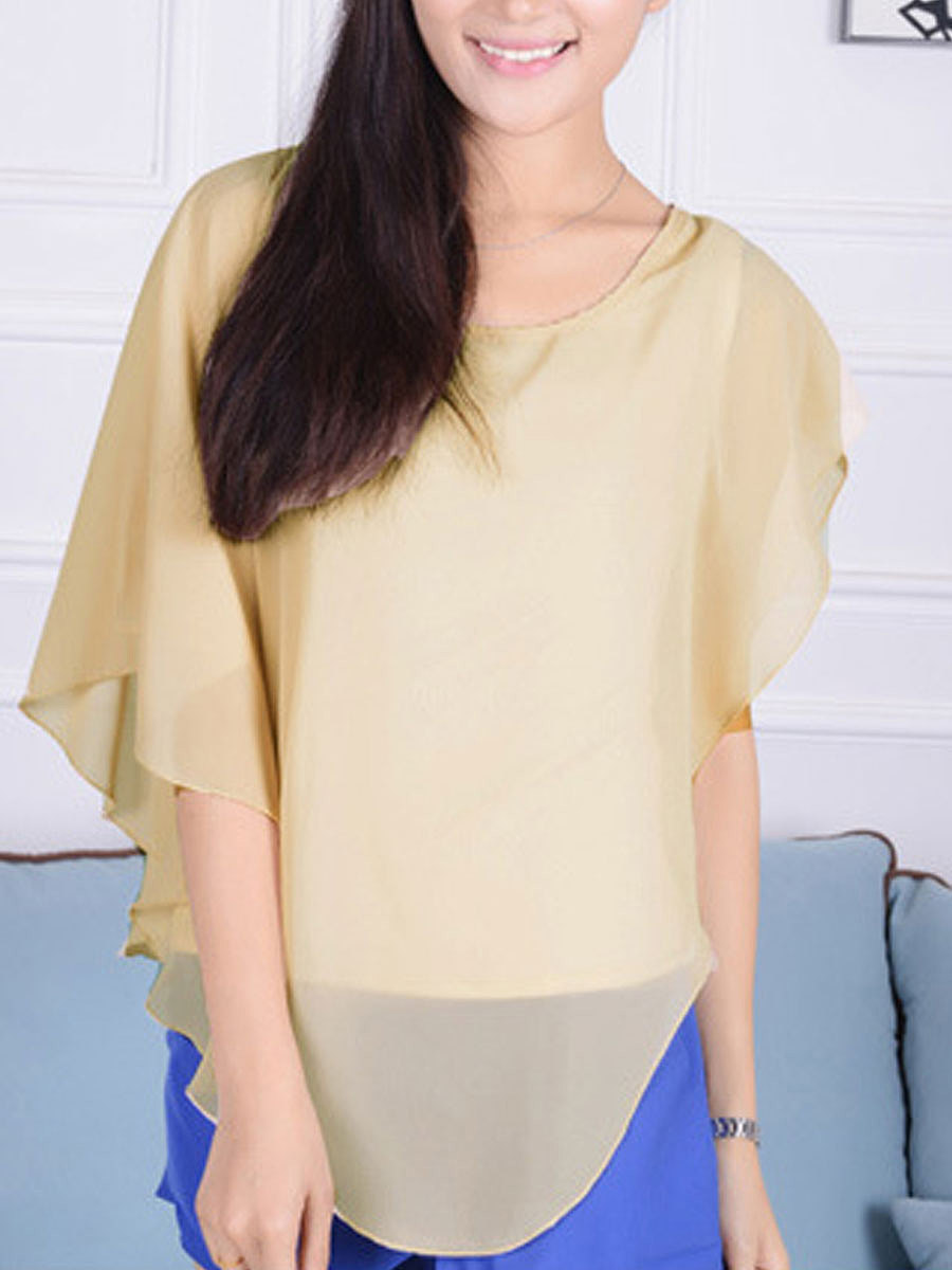 Round Neck Plain Cape Sleeve Blouse