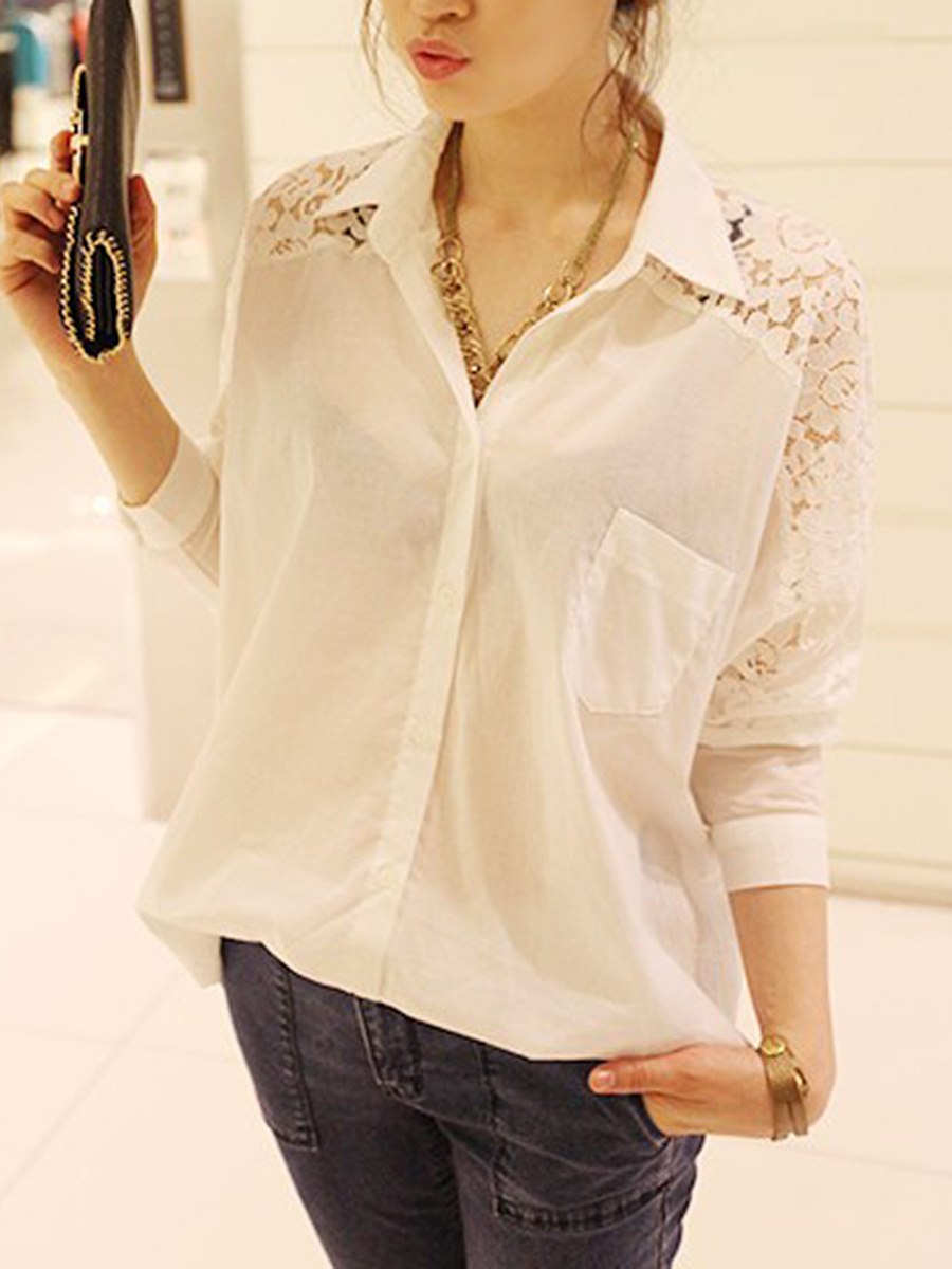Oversized Patchwork Hollow Out Plain Blouse