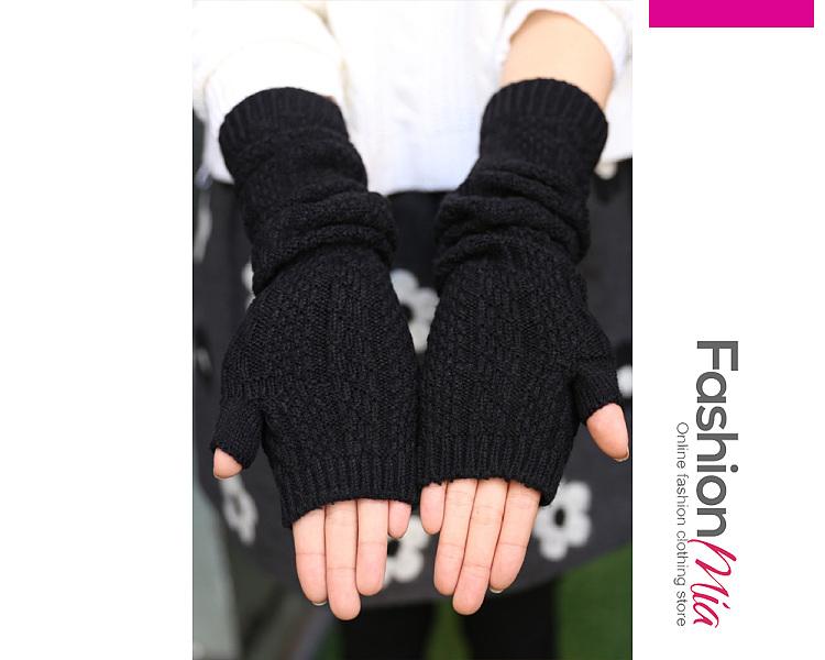 Black Knitted Basic Long Gloves