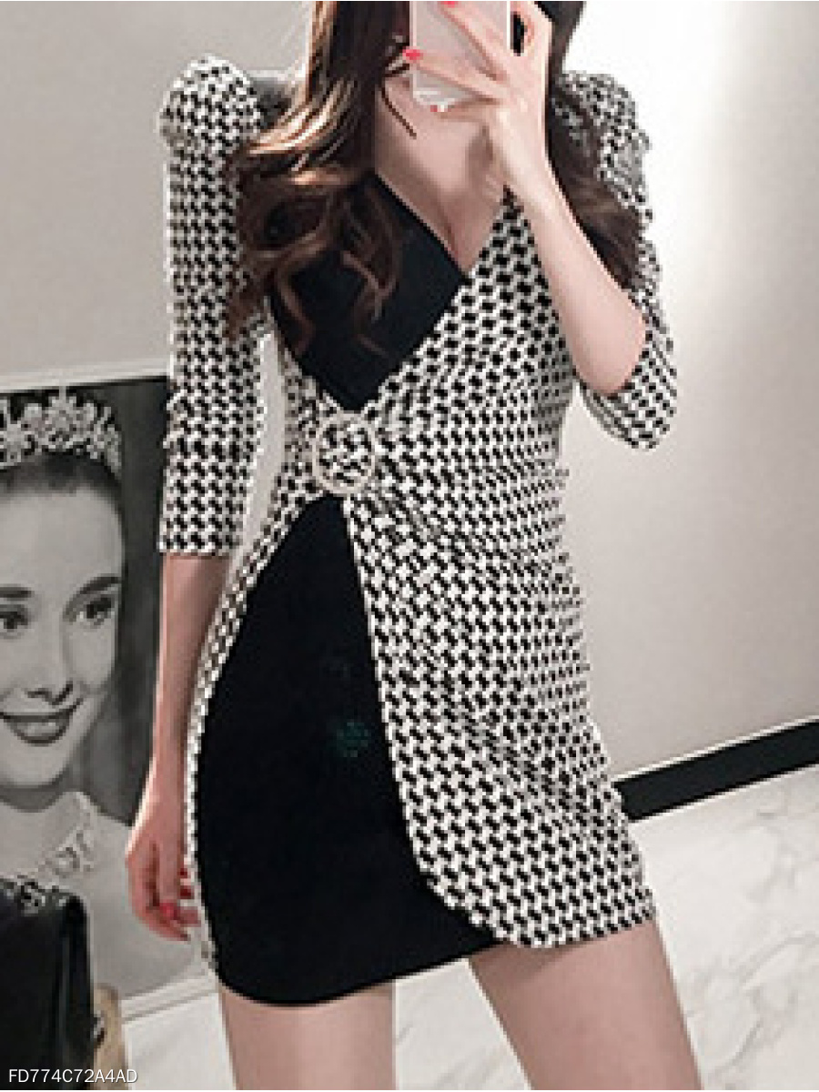 Surplice  Plaid Bodycon Dress