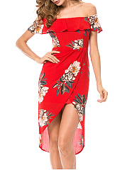 Off Shoulder Flounce Floral Printed High-Low Bodycon Dress