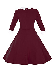 Half Sleeve Doll Collar Color Block Plus Size Flared Dress