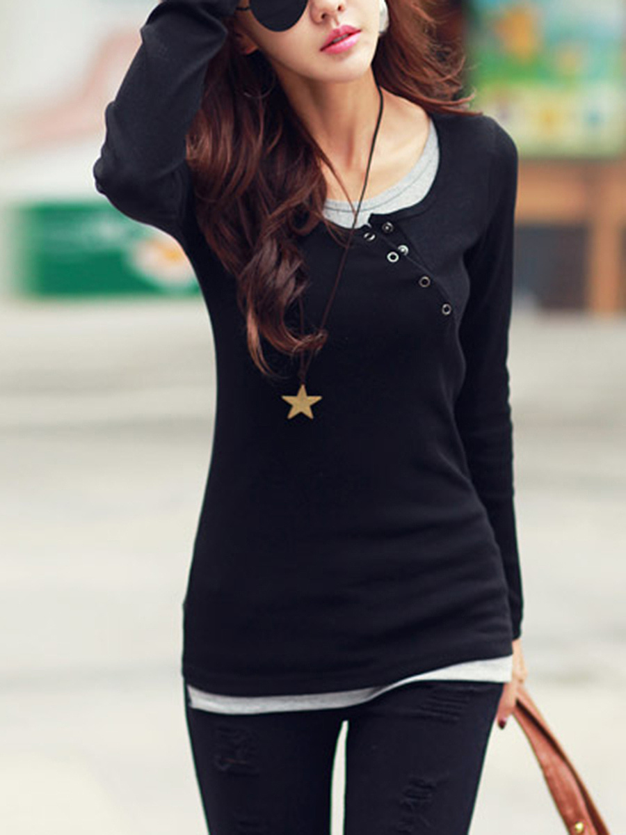 Round Neck Color Block Diagonal Buttons Long Sleeve T-Shirt