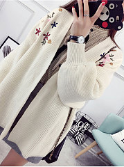 Collarless  Embroidery  Long Sleeve Cardigans