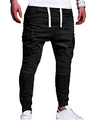 Drawstring Flap Pocket Ruched  Plain  Pegged  Mid-Rise Men's Casual Pants