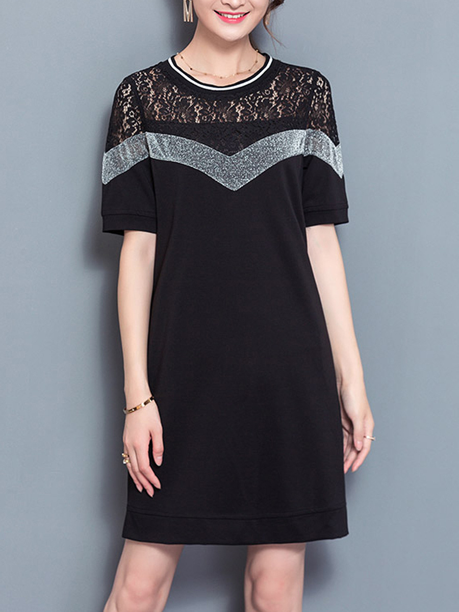 Color Block Hollow Out Round Neck Pocket Shift Dress