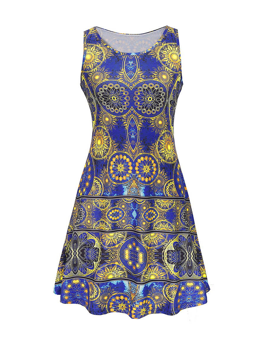 Captivating Tribal Printed Round Neck Skater Dress