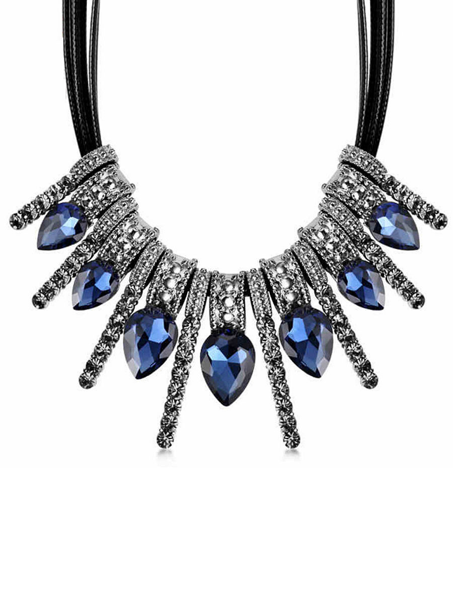 Blue Drop Shape Rhinestone Necklace