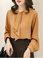 Autumn Spring Summer Winter  Acrylic  Women  Decorative Button  Plain  Puff Sleeve  Long Sleeve Blouses