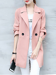 Fold-Over Collar  Plain  Three-Quarter Sleeve Trench Coats