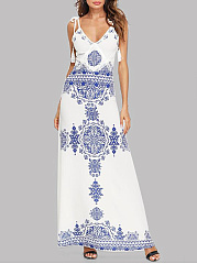 Spaghetti Strap  Tassel  Printed Maxi Dress